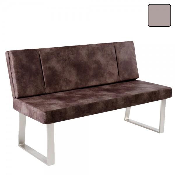 Bank mit Rückenlehne Sitzbank ST. KAMPEN Sitz Vintage Microfaser Edelstahl-Look