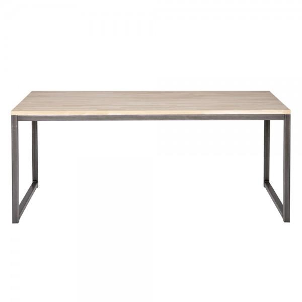 Esstisch OLIVIER 150 x 90 cm Esszimmertisch Dinnertisch Eiche Massivholz Metall