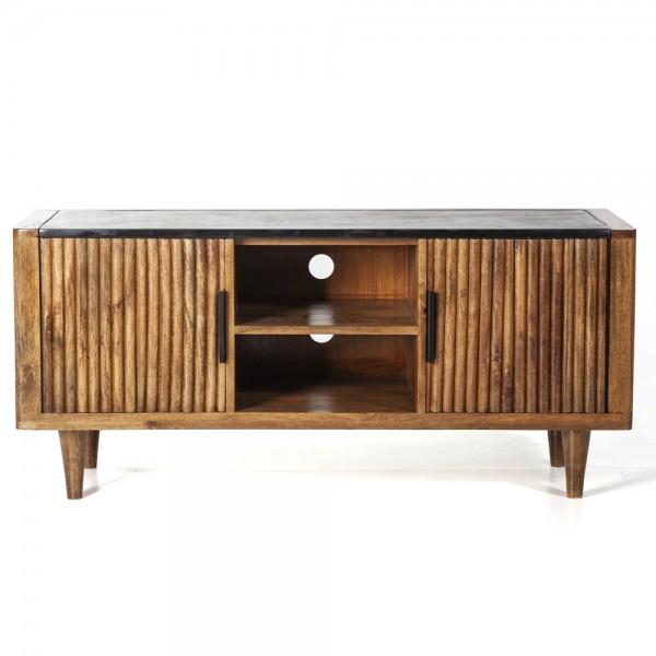 TV Möbel Lowboard Carter 125 cm Mango Holz Deckplatte Marmor
