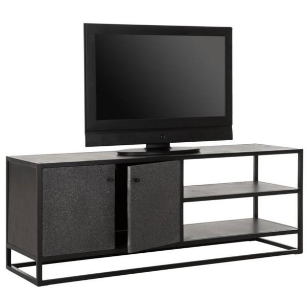 MUST LIVING TV Möbel Mont Ventoux 140 cm Metall Basalt schwarz