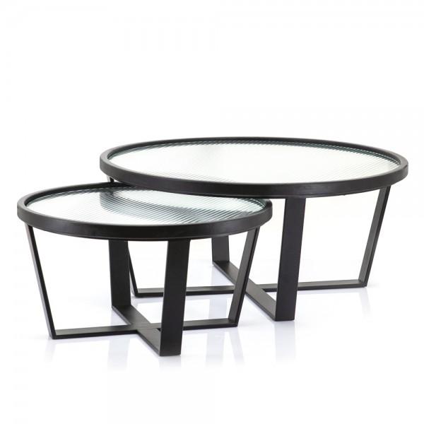 2er Set Beistelltisch Loup groß Metall schwarz Glas Sofatisch Anstelltisch Couchtisch