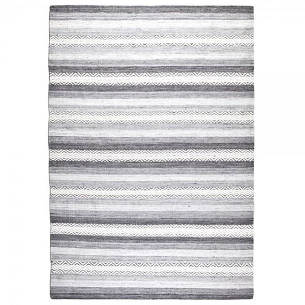 Wohnzimmer Teppich GUMP Teppiche Carpet Wolle Baumwolle Vintage grau Streifen