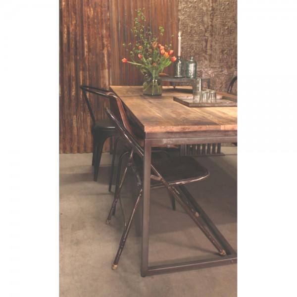 Vintage Esstisch 200 x 100 cm Mango Massivholz Platte Metall grau Dinnertisch Esszimmertisch Tisch