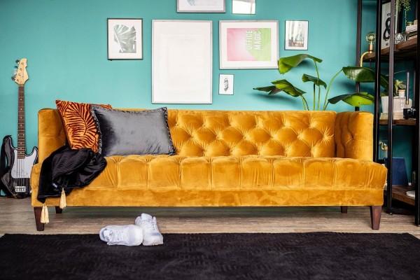 3-Sitzer Sofa VOGUE ocker Samt Velour Couch Samtsofa