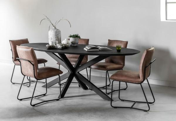 DTP Home Esstisch Timeless oval 240 x 110 cm Teakholz Metall schwarz Dinnertisch Tisch