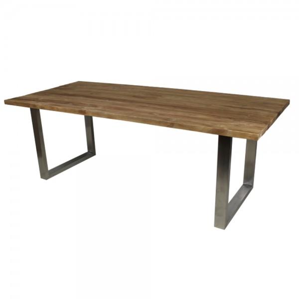 Esstisch 200 x 100 cm Esszimmertisch Dinnertisch Massivholz Teak Holz natur