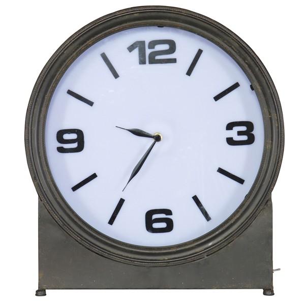 Metall Uhr Standuhr AGELESS schwarz Tischuhr Clock Uhr Kaminuhr Batterie