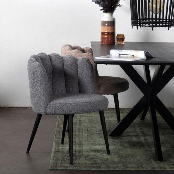 2er Set Esszimmerstuhl AVERY Teddystoff grau Stuhl