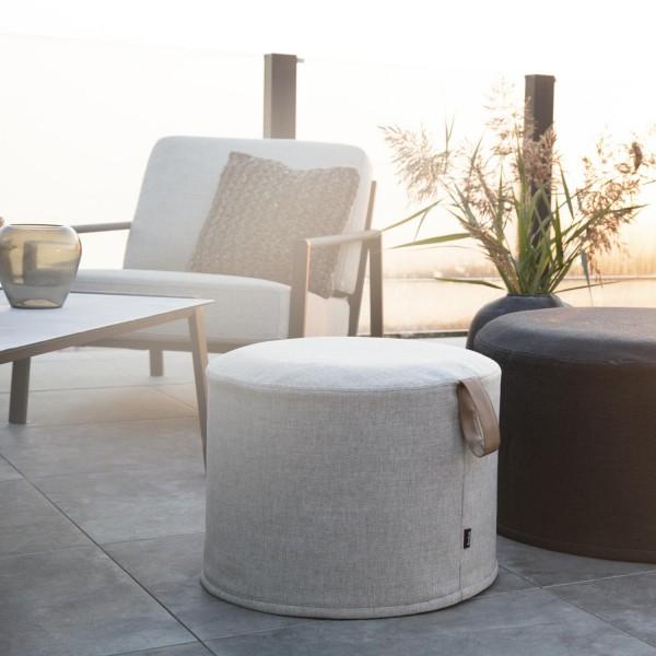 Outdoor Sitzhocker Kotte beige Pouf Ø 50 cm rund Hocker