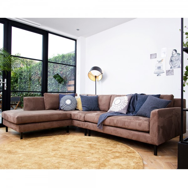 Eckgarnitur NATE taupe Wildlederoptik Couch Sofa Ecksofa Eckcouch Longchair links