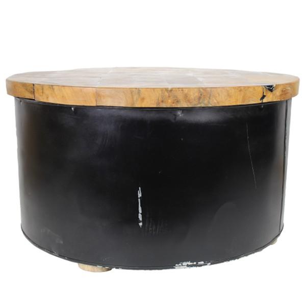 Beistelltisch Couchtisch DRUM rund Ø 75 cm schwarz Kaffeetisch Tisch Massivholz