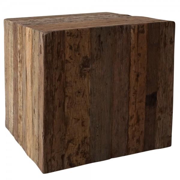 Couchtisch auf Rollen 45 x 45 cm Massivholz Block rustikal Patina Sofatisch Tisch Beistelltisch