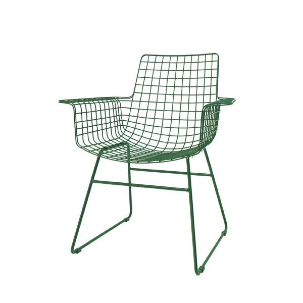 Metall Stuhl mit Armlehnen Esstischstuhl grün