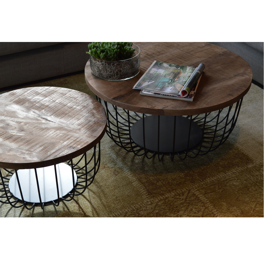 2er set couchtisch eva rund metallkorb mango stauraum. Black Bedroom Furniture Sets. Home Design Ideas