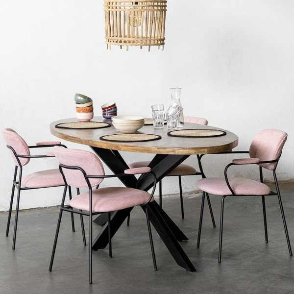 Esstisch Max oval 200 x 100 cm Mango Holz Fischgräte Tisch