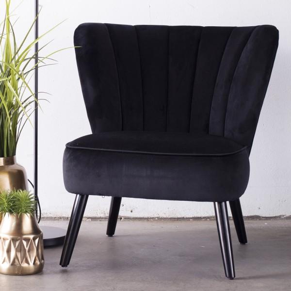 Lounge Sessel Shelly Samt schwarz Velvet